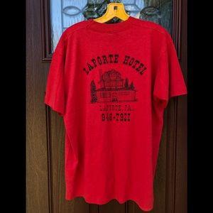 Vintage T-Shirt La Porte Hotel PA Mens XL Red